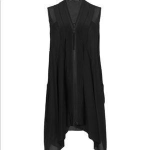 All Saints Silk Zipper Front Dress in Black